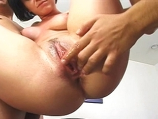 big dick brunette Veronica's pussy gets filled with cum after getting fucked by two cocks