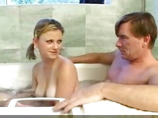 mature hardcore Teen Girl and daddy have fun in the bath