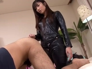 bdsm asian Japanese strapon leather lady