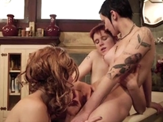 groupsex tattoo Proxy Paige and two horny dykes please their pussies