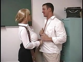blowjob blonde Mature blond with enormous breasts screwed by student in the classroom