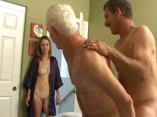 bisexual male anal Grandpa s bisexual fun with younger couple