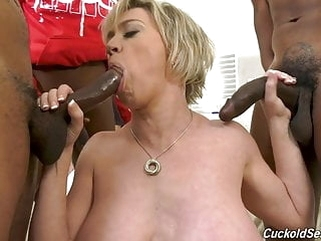 milf blonde Hubby catches wife with three big black cocks