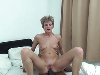 mature anal Unknown short-haired skinny granny interracial