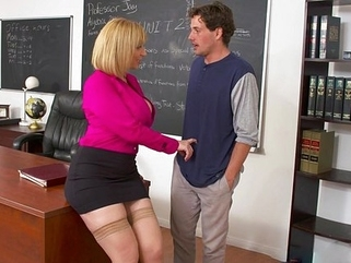 office milf Lustful teacher seduced a student into hot sex in the office...